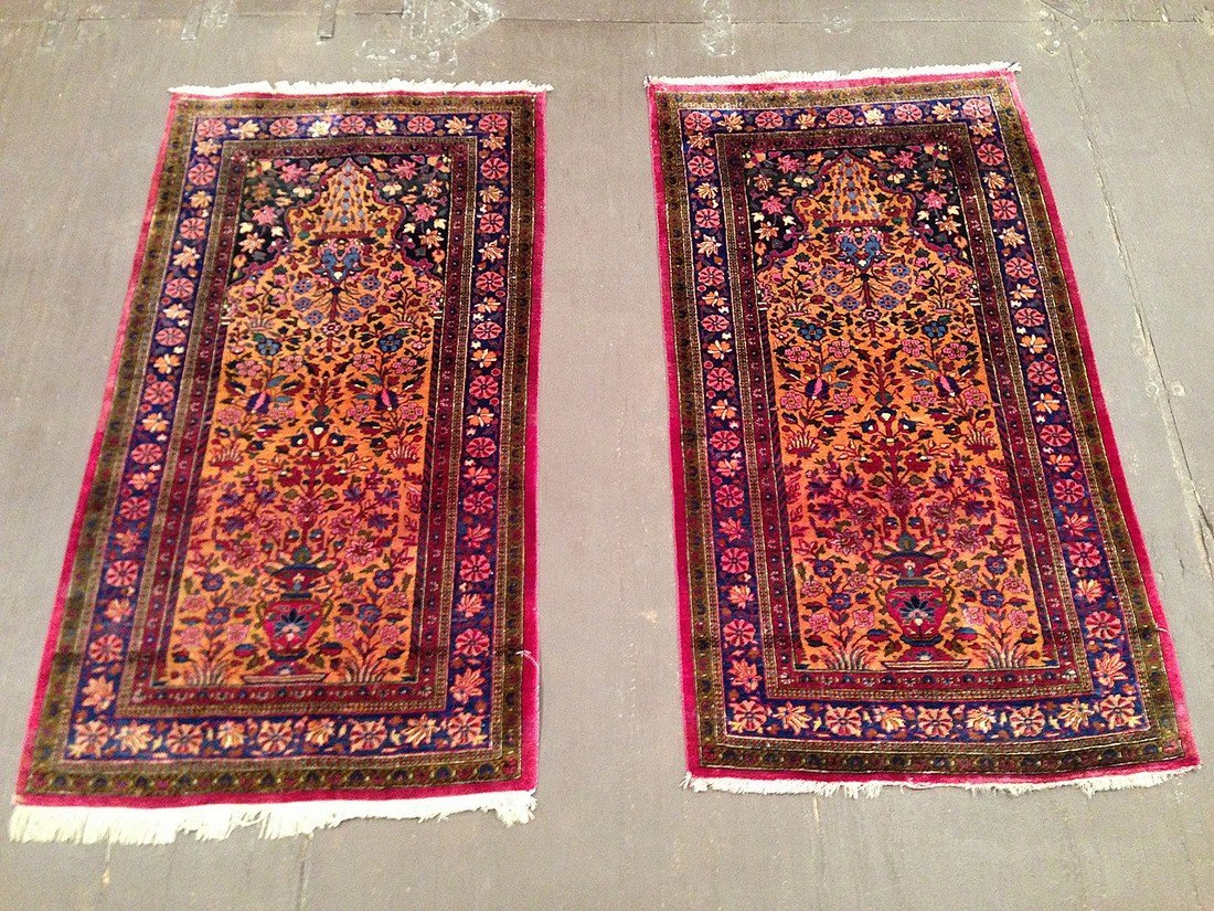 A Pair of Antique Persian Silk Kashan Rugs
