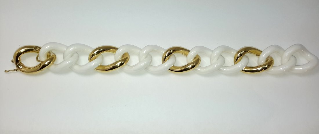 18K YELLOW GOLD AND WHITE CERAMIC LINK