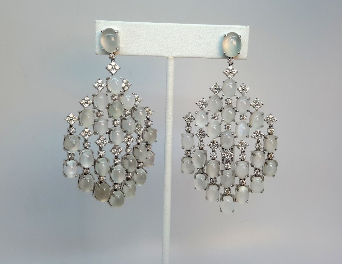 18k white gold Diamond/Moon Stone Earring,This
