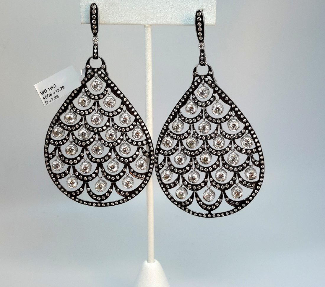18k white gold/black rodium Diamond Pear Shape Earring,