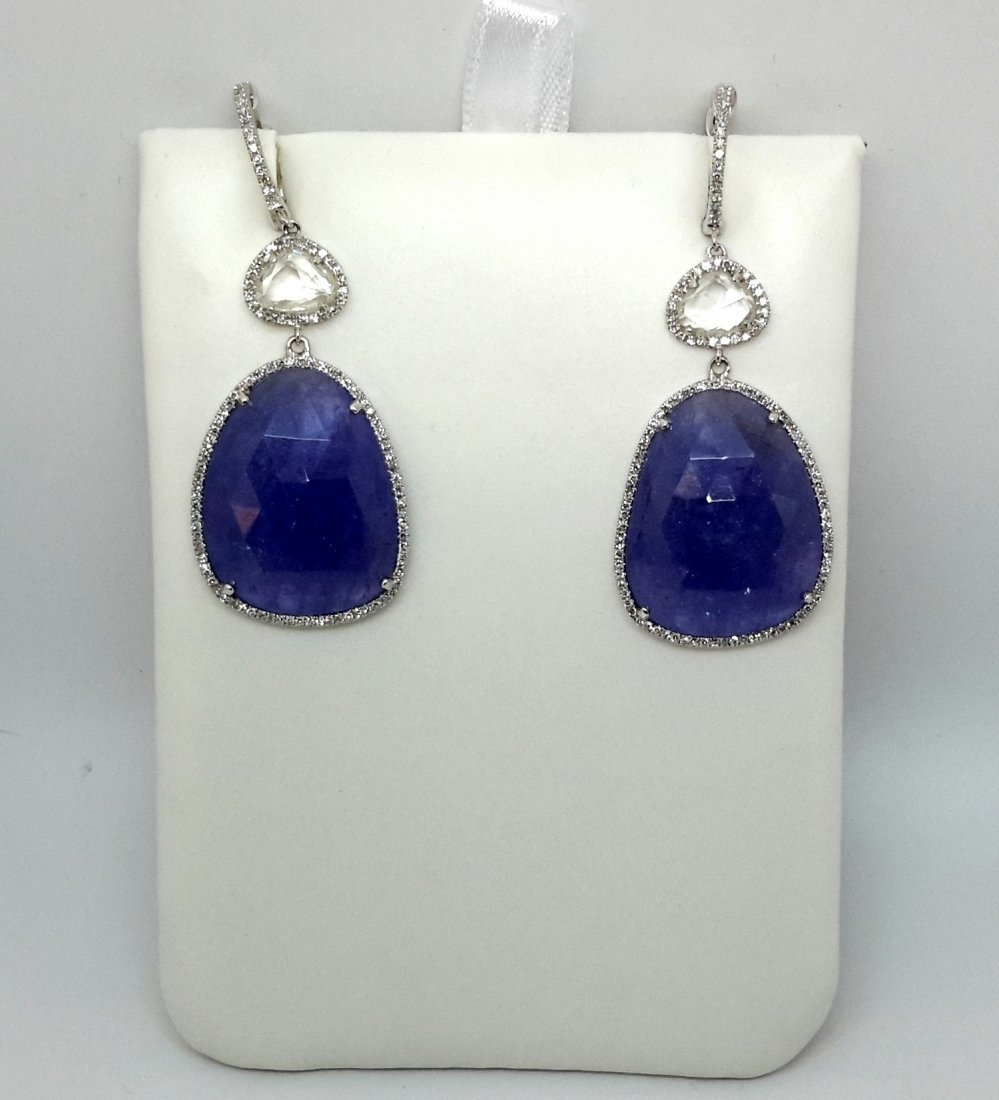 14K White Gold DIA/TANZANITE/W SAPH EARING….These