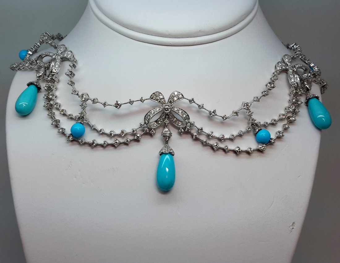 18k white gold Diamond Bow/Turquoise Drop necklace,