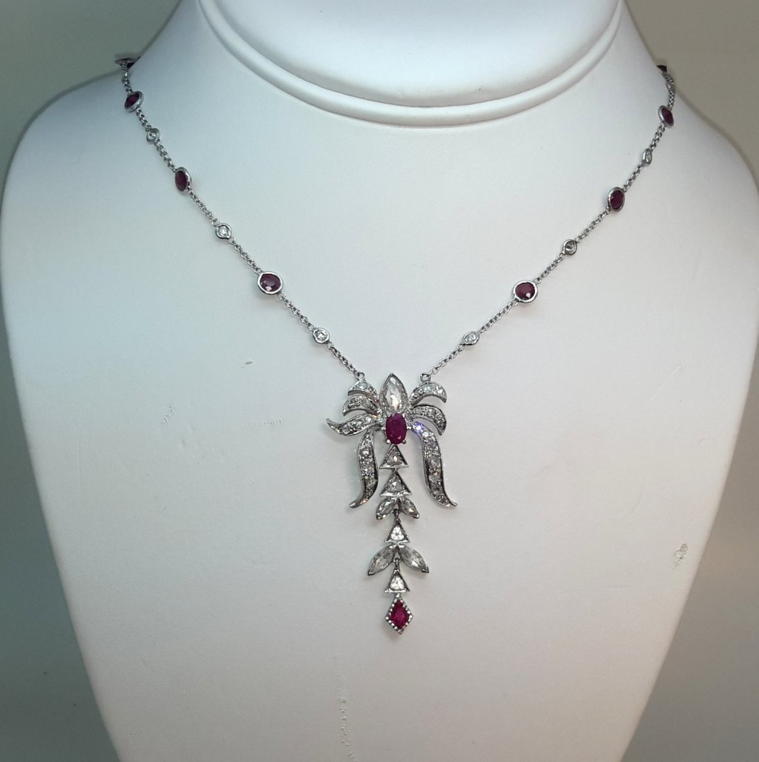 18K W/G Rosecut DIAMOND/RUBY NECKLACE , Make this