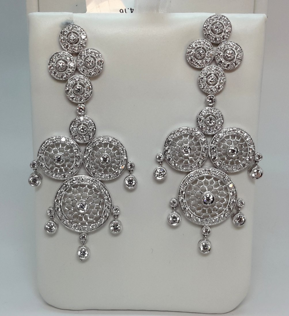 18k white gold Natural Diamond Chandeliers Earring