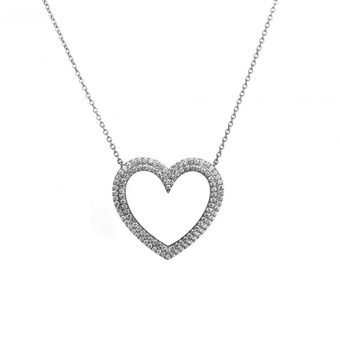 Tiffany & Co. Metro Platinum Diamond Heart Pendant