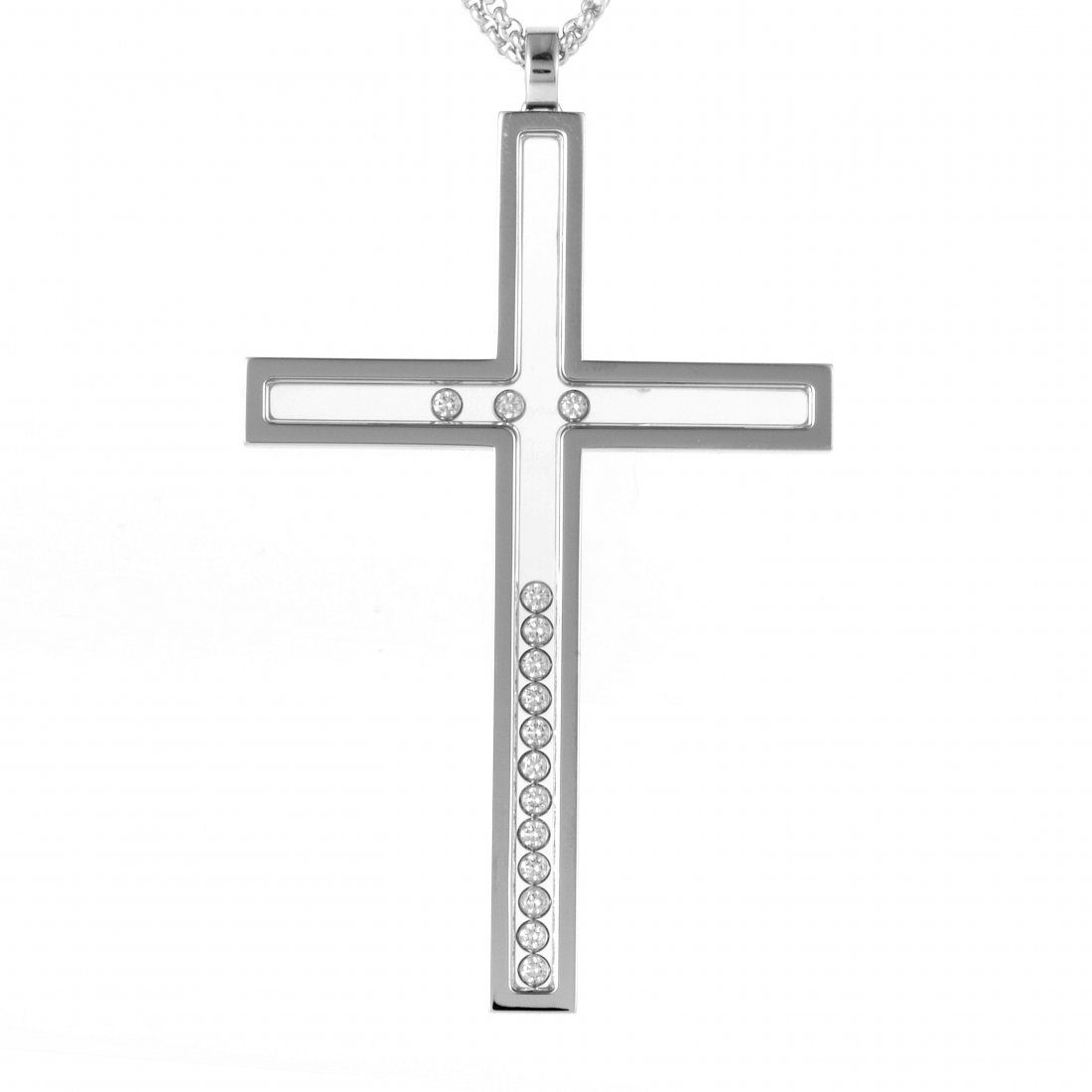 Happy Diamonds 18K White Gold Cross Pendant Necklace