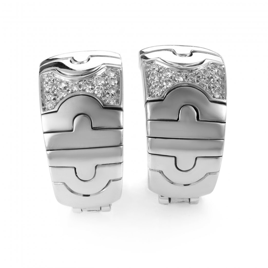 Bvlgari Parentesi 18K White Gold Diamond Clip-On