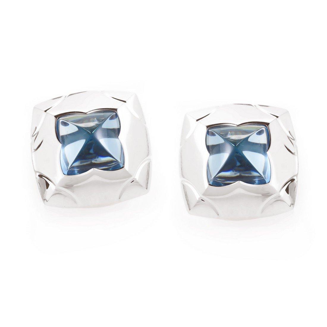Piramide 18K White Gold & Topaz Earrings