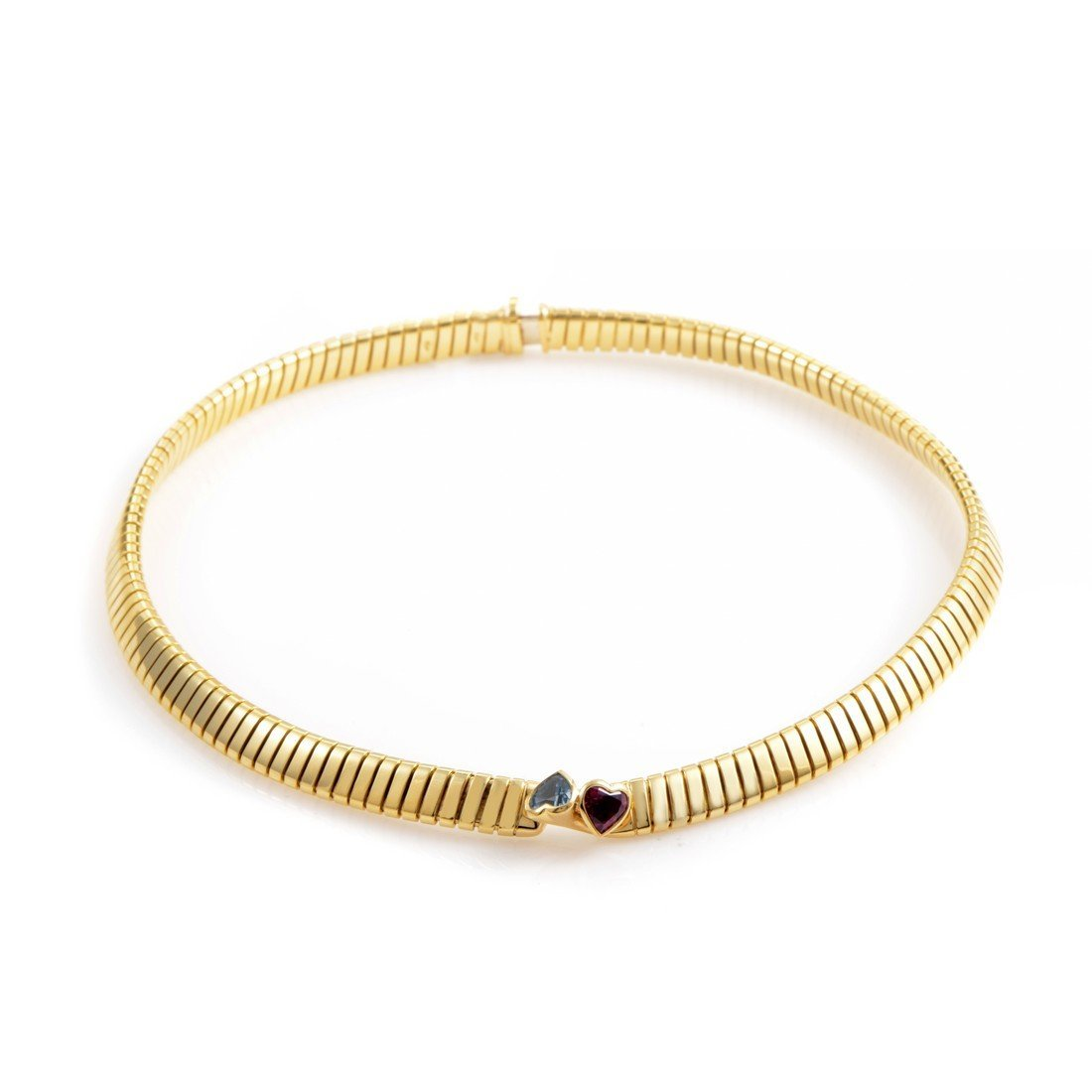 Bvlgari 18K Yellow Gold Double Heart Collar Necklace