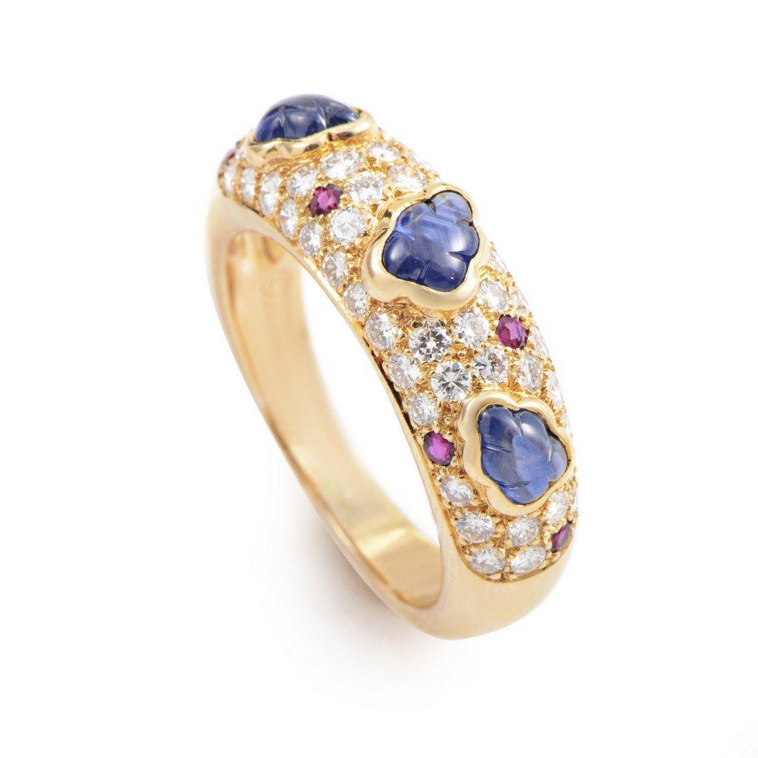Cartier 18K Yellow Gold Precious Gemstone Band Ring