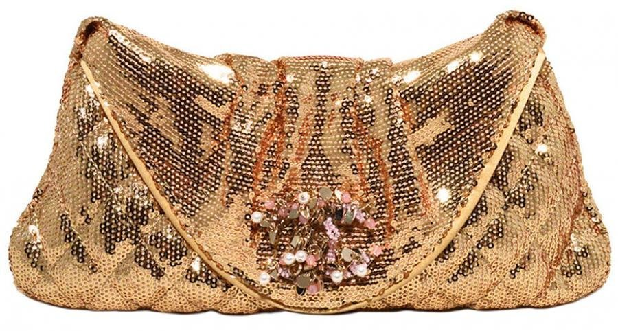 Chanel Gold Sequin Paillette Quilted Folded