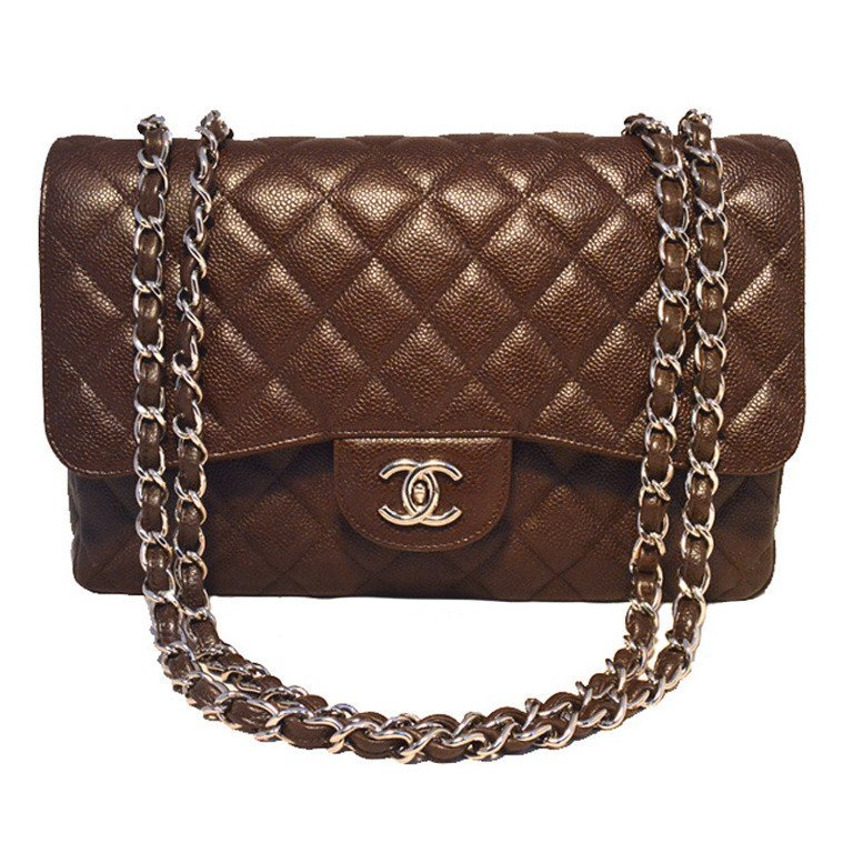 Chanel Brown Caviar Relaxed Jumbo Classic Flap Shoulder
