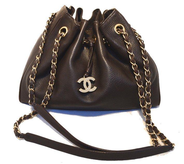 Chanel Brown Leather Drawstring Shoulder Bag