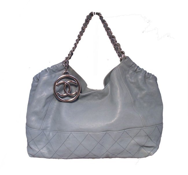 Chanel Blue Leather Quilted Shoulder Bag Tote
