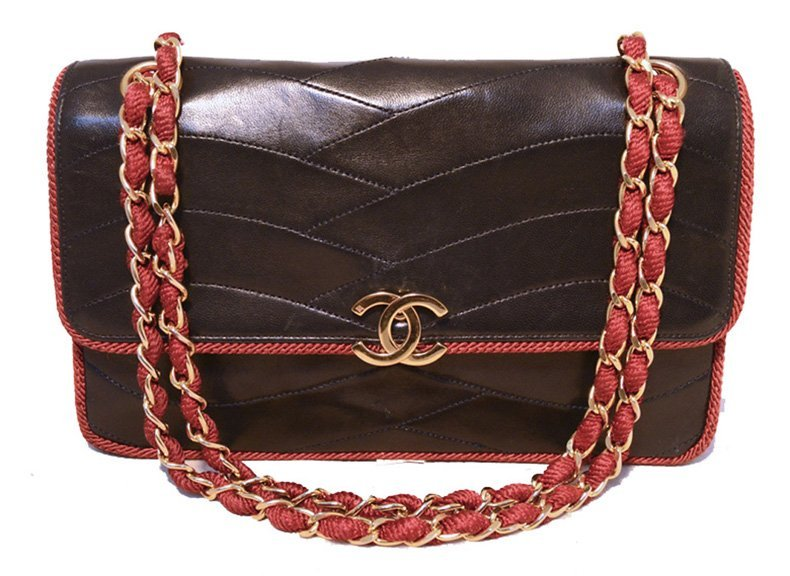 Chanel Vintage Red and Navy Blue Classic Flap Shoulder
