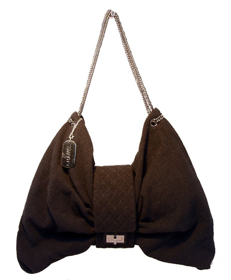 Chanel Black Terry Cloth XL Oversized Bow Shoulder Bag