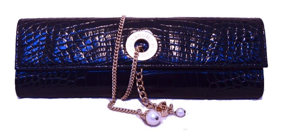 Chanel Black Alligator Clutch With Chain Wrap and Pearl
