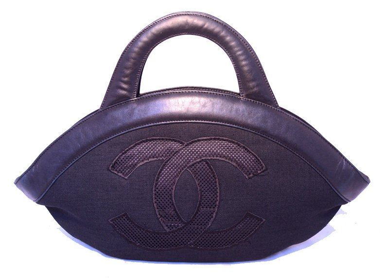 Chanel Black Woven Linen and Leather CC Logo Cut Out