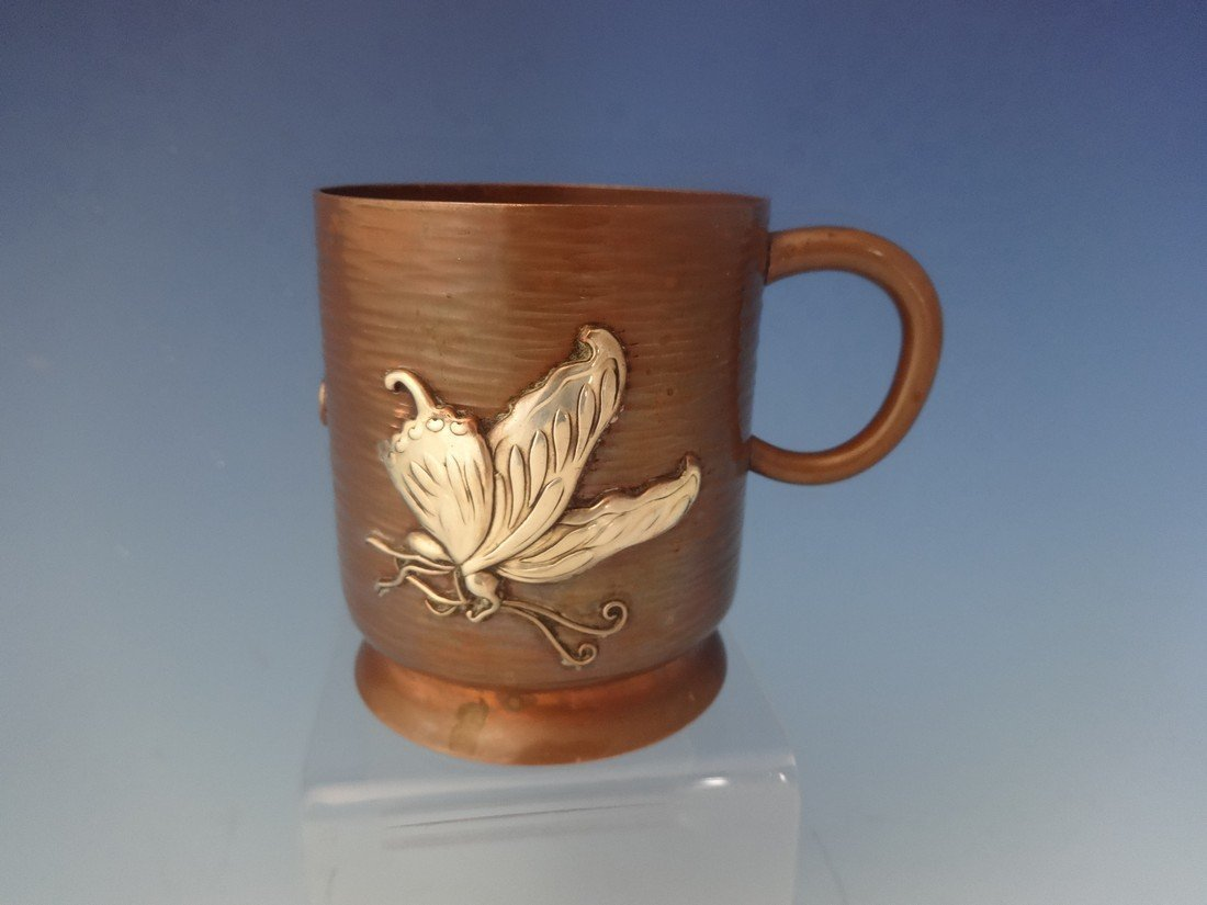 Aesthetic copper mug with 3 applied silver butterflies