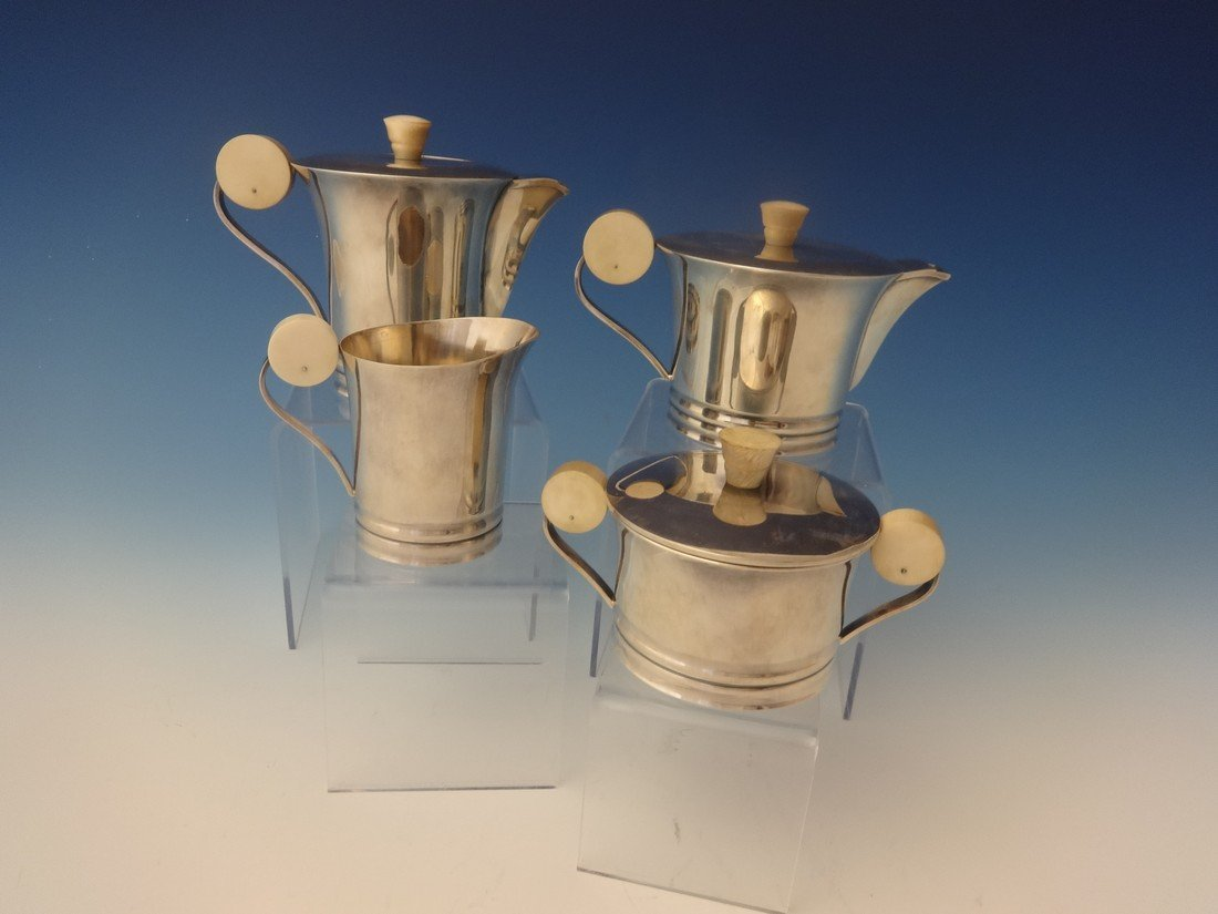 French 950 silver Art Deco individual 4 piece Tea