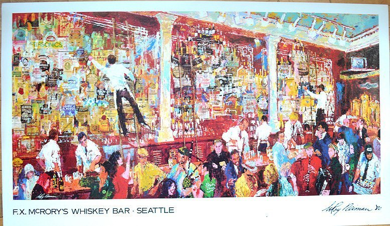 Leroy Neiman F. X. Mcrory's Whiskey Bar Signed in Plate