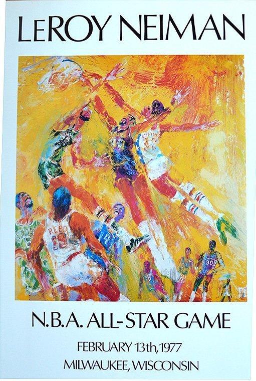 "Leroy Neiman ""N. B. A. All - Star Game""Feb 13th 1977,"