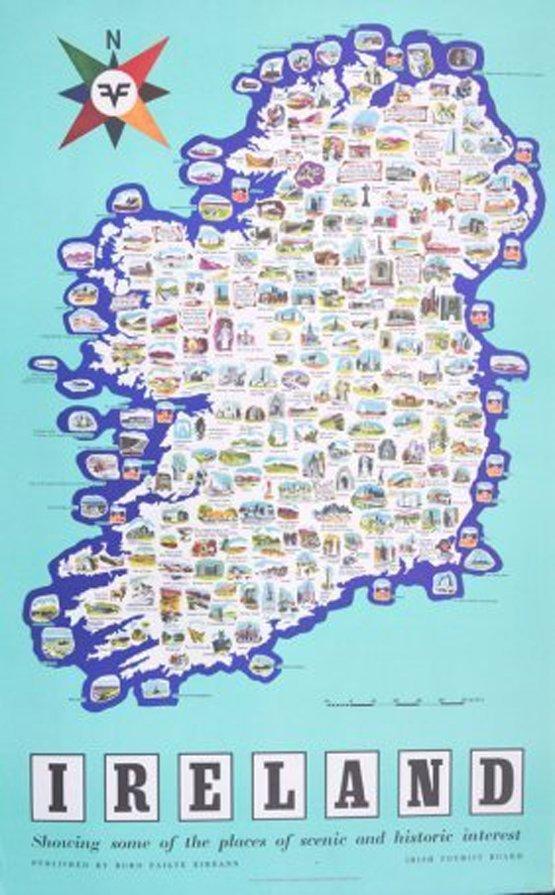 Anon. Irish Tourist Board Ireland Map Showing Places