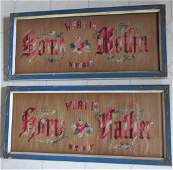 Pair c1870s Victorian Motto Samplers, Mom & Dad