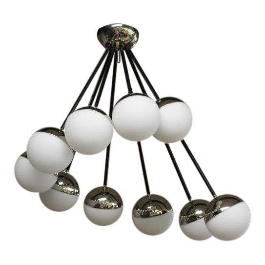 Stilnovo Chandelier. 10 glass globe