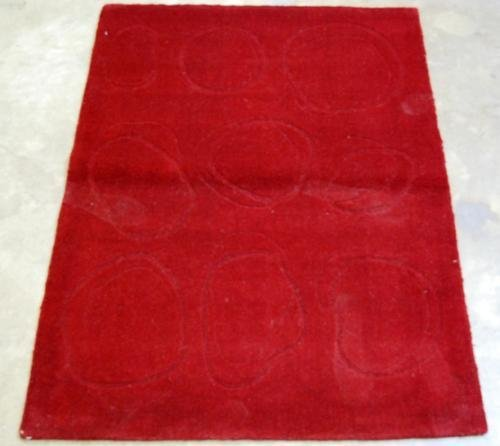 RICH RED CIRCLE DESIGN HAND TUFTED RUG