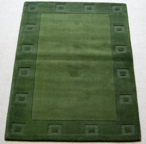 SHEEN GREEN SQUARE DESIGN HAND TUFTED RUG