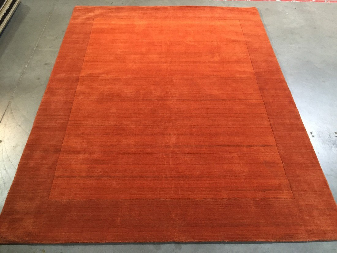 8x10  SOLID TWO TONE DESIGN HAND MADE & CARVED WOOL