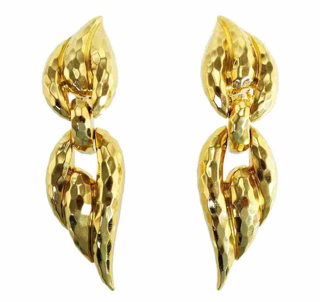 Pair of 18 Karat Gold Pendant-Earclips by Henry Dunay