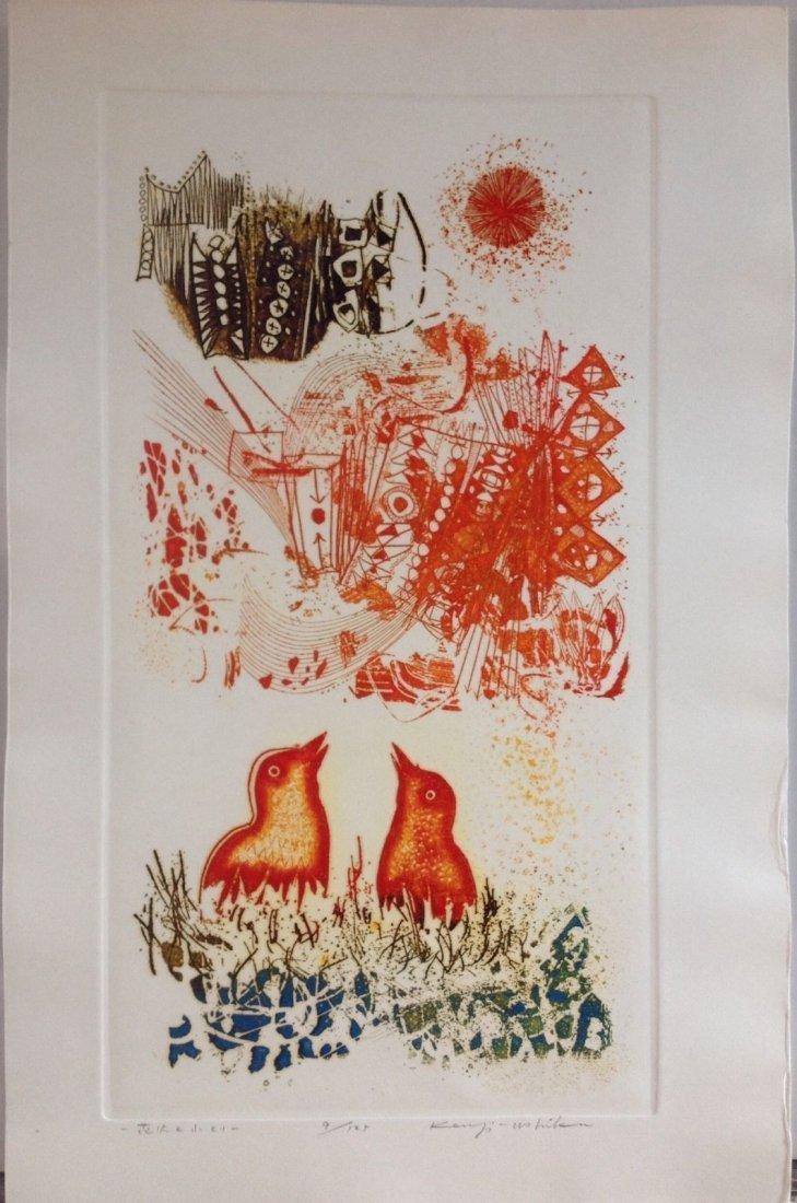 """KENJI USHIKU ( 1922-2012) - Color Etching """" Birds Nest"""""""