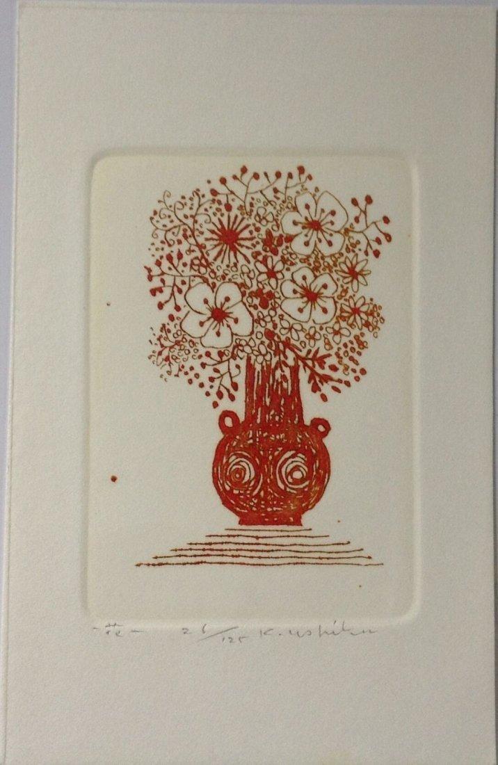 "KENJI USHIKU ( 1922-2012) - Color Etching "" Vase"""