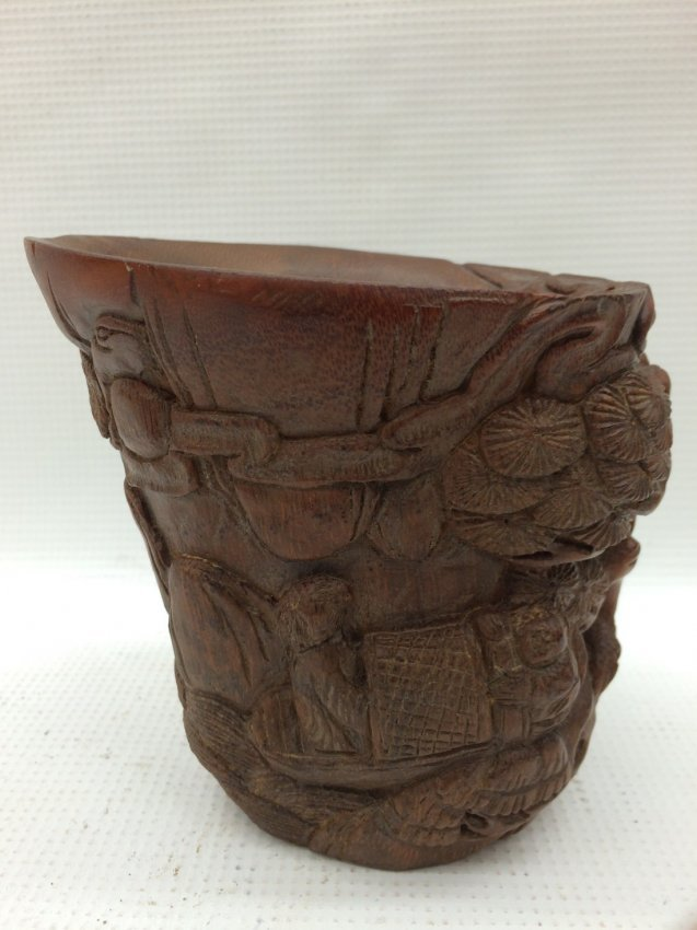 A Chinese Carved Bamboo Libation Cup