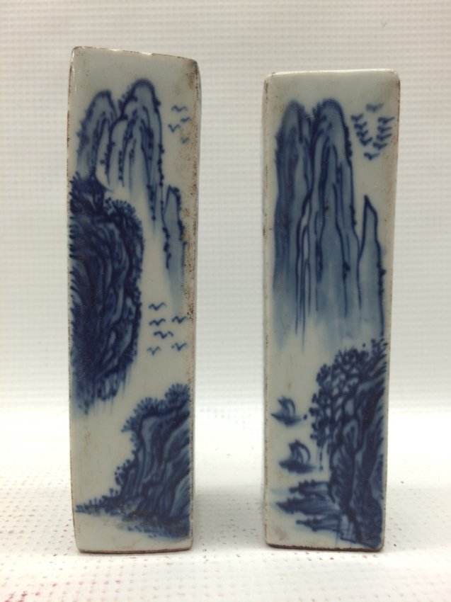 A Chinese Pair Blue and White Seal with Poem