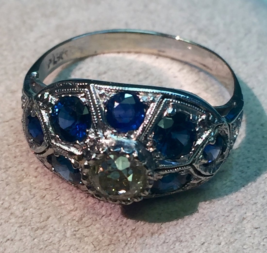 inlayed sapphires ring sapphire and old mine