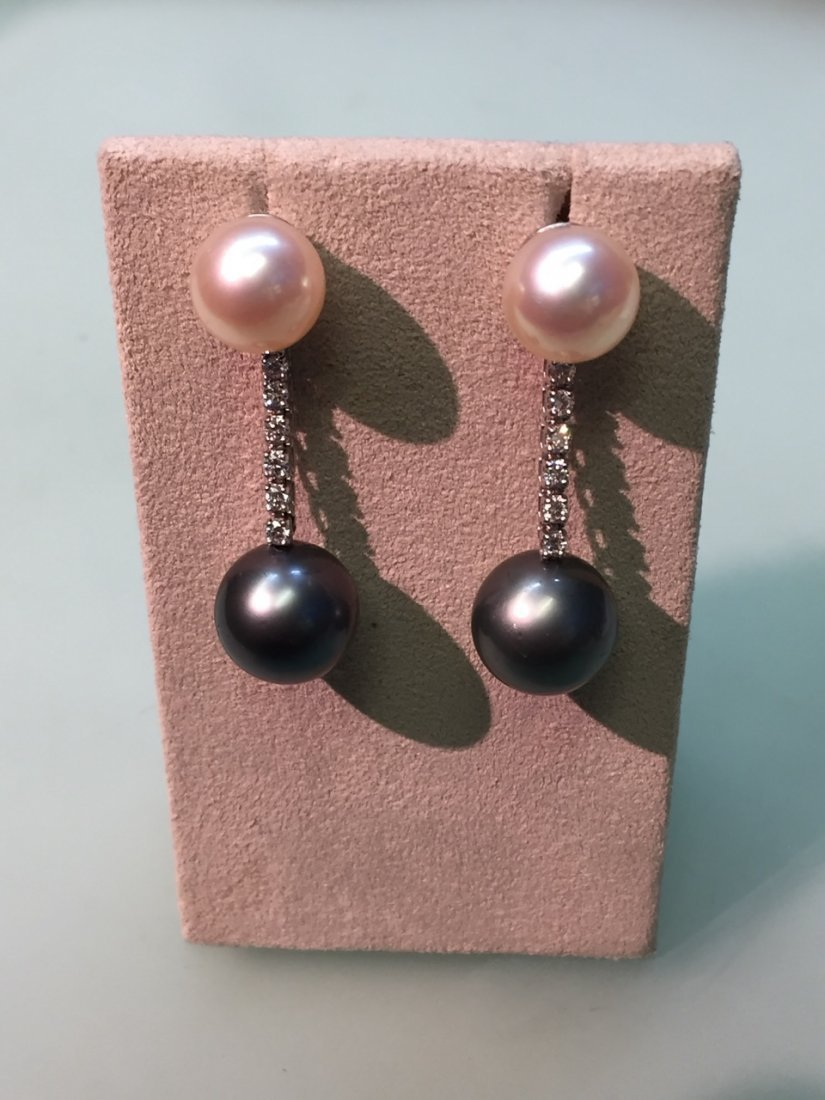 gray and pink pearl earrings