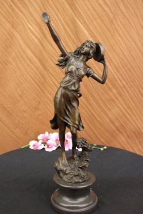 100% Solid Bronze Sculpture On Marble Base