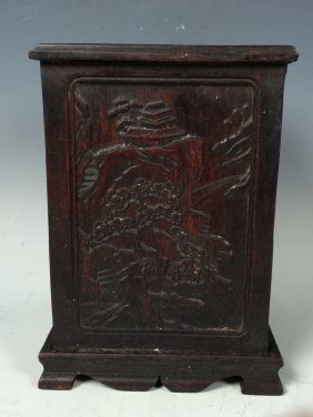 Carved Wood Brushpot