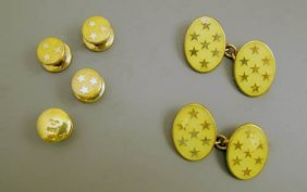 Set Of Deakin And Francis Silver Gilt Cufflink And Stud