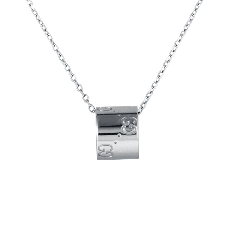 Gucci Icon 18K White Gold Diamond Ring Pendant Necklace