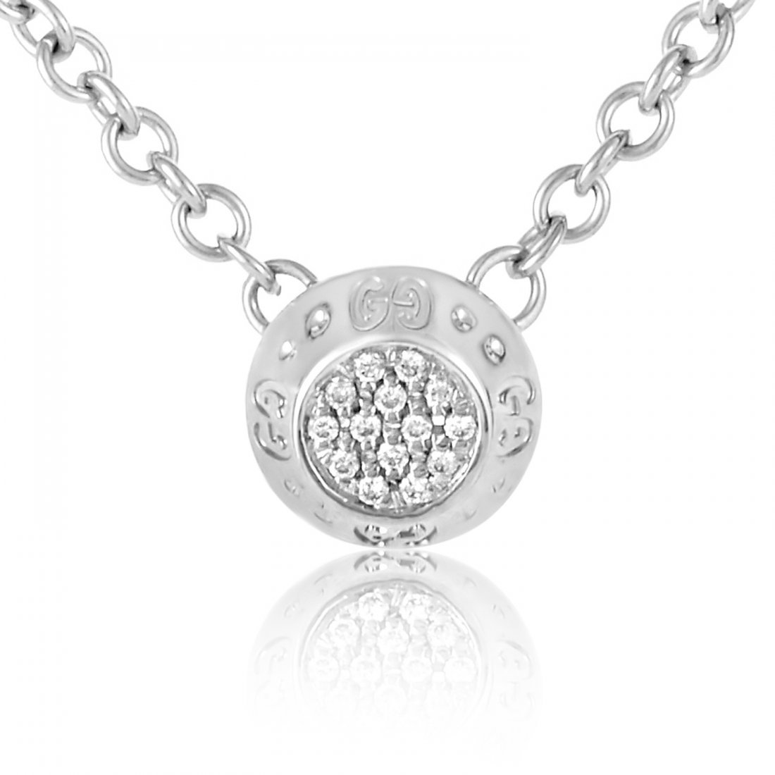 Gucci 18K White Gold Diamond Pave Pendant Necklace