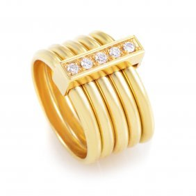Gucci 18k Yellow Gold 5 Band Diamond Ring Comprised Of
