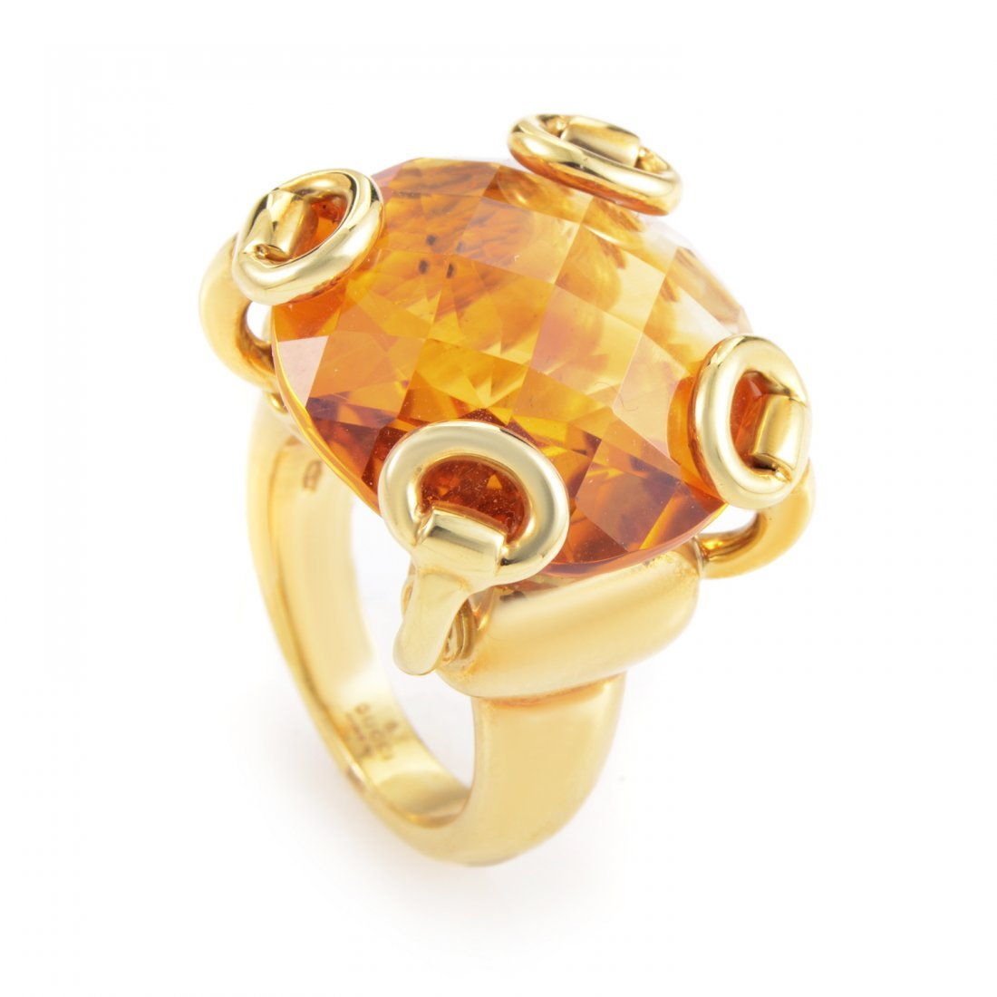 Gucci Horsebit 18K Yellow Gold Citrine Ring