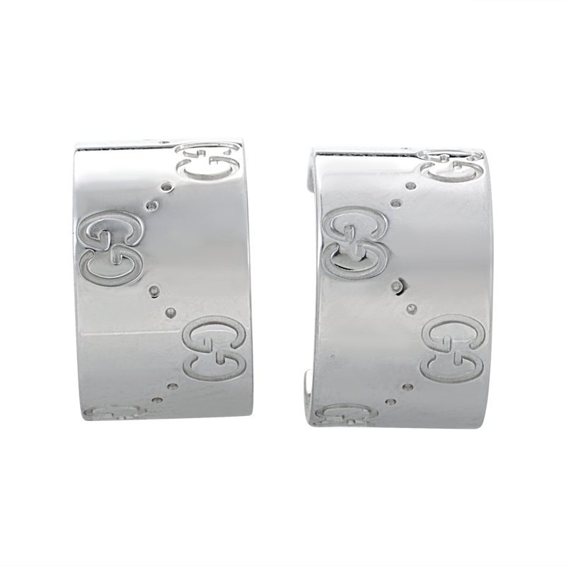 Gucci Icon 18K White Gold Earrings GUC04-010215  These