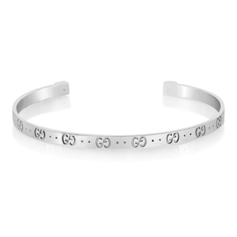Gucci Icon 18K White Gold Open Bangle Bracelet 07024306