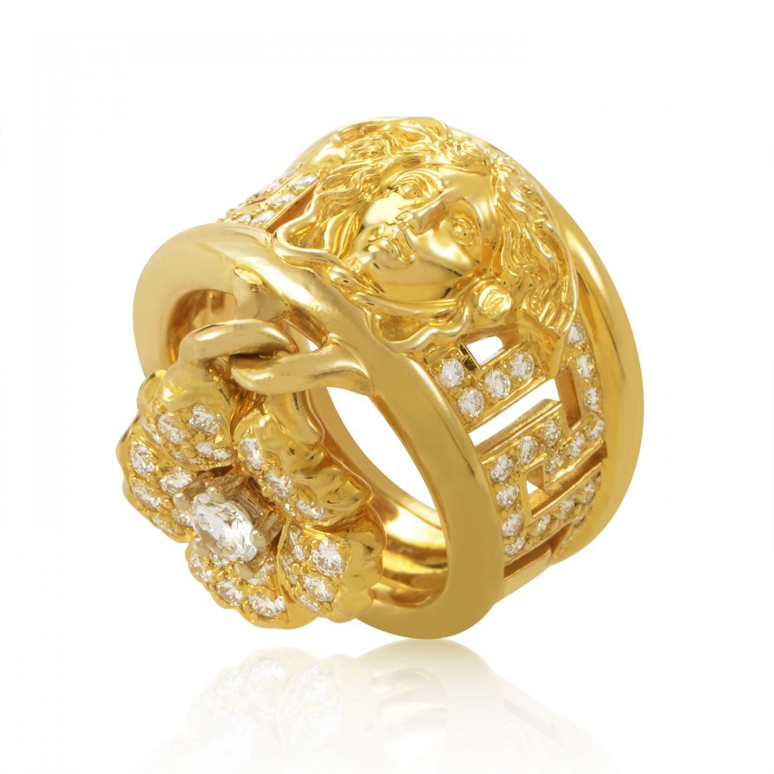 Versace 18K Yellow Gold Diamond Pave Flower Charm Ring