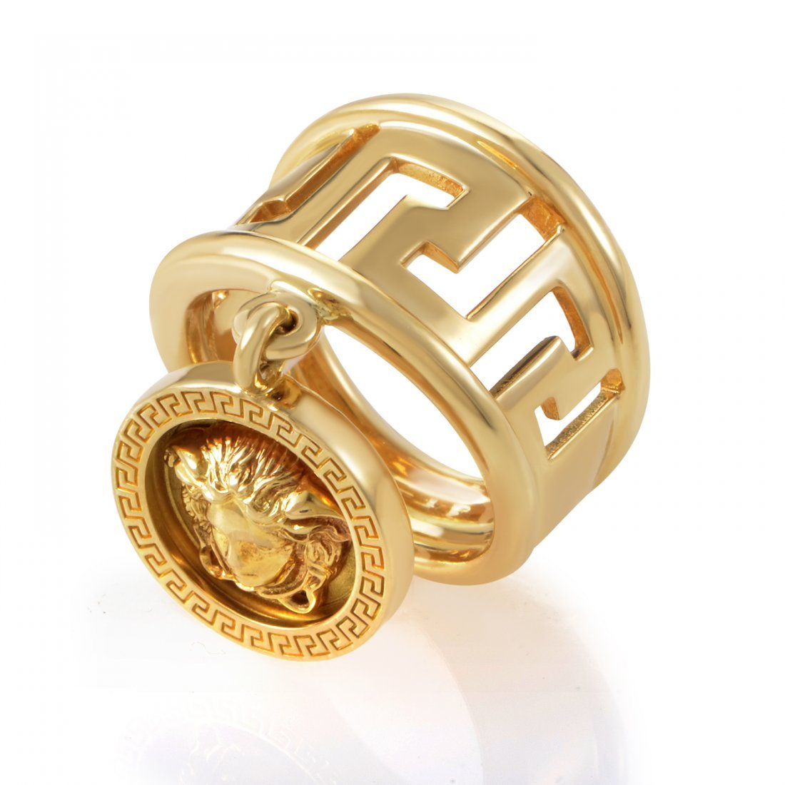 Versace 18K Yellow Gold Medusa Head Charm Ring  The